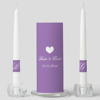 Custom monogram lavender purple unity candle set