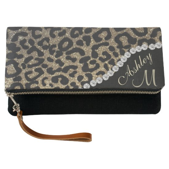 Custom Monogram Leopard Clutch