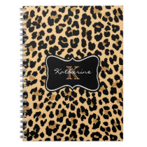 Custom Monogram Leopard Print Spiral Notebook
