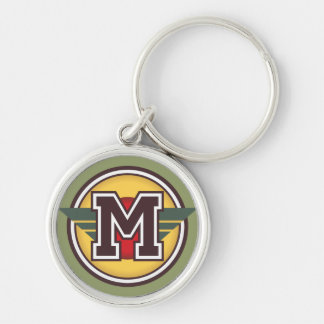Custom Monogram Letter M Initial Silver-Colored Round Keychain
