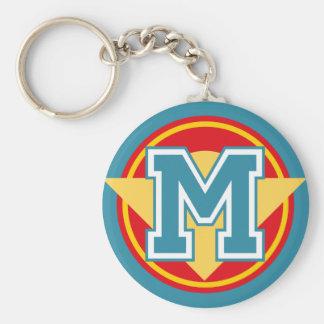 Custom Monogram Letter M Initial Basic Round Button Keychain