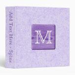 Custom Monogram Letter. Picture of Purple Wood. 3 Ring Binder