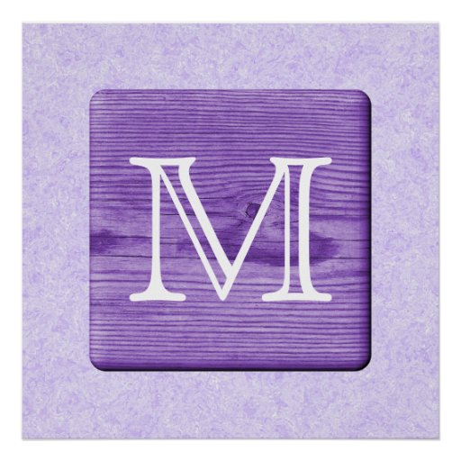 Custom Monogram Letter. Picture of Purple Wood. Print