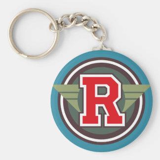 "Custom Monogram Letter ""R"" Initial Basic Round Button Keychain"