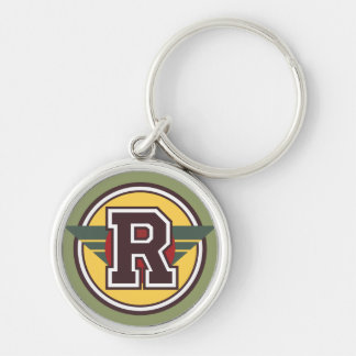 """Custom Monogram Letter """"R"""" Initial Silver-Colored Round Keychain"""
