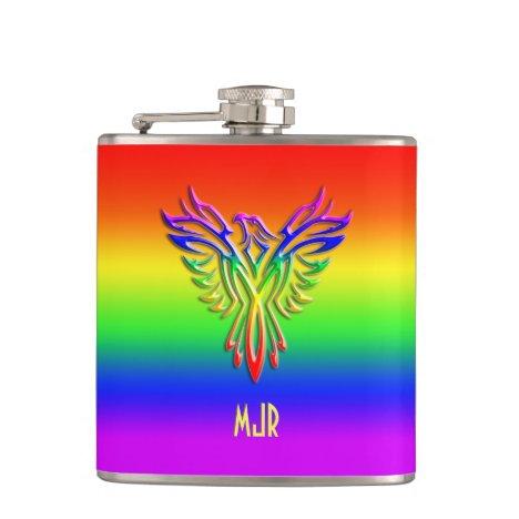 Custom monogram, LGBT Rainbow Pride Phoenix Rising Flask