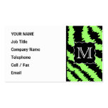 Custom Monogram Lime Green and Black Zebra Pattern Double-Sided Standard Business Cards (Pack Of 100)