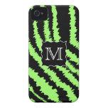 Custom Monogram Lime Green and Black Zebra Pattern iPhone 4 Cases