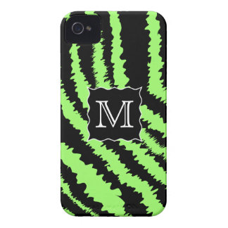 Custom Monogram Lime Green and Black Zebra Pattern Case-Mate iPhone 4 Case