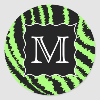 Custom Monogram Lime Green and Black Zebra Pattern Classic Round Sticker