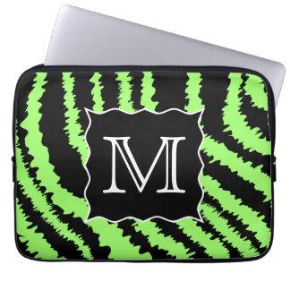 Custom Monogram Lime Green and Black Zebra Pattern Computer Sleeve
