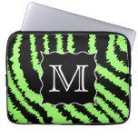 Custom Monogram Lime Green and Black Zebra Pattern Laptop Computer Sleeve