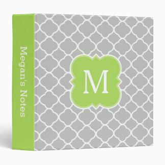 Custom Monogram Lime Green Gray Quatrefoil Binder