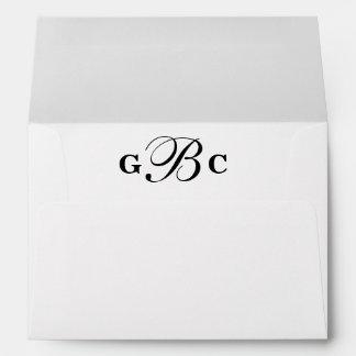 Custom Monogram Liners Wedding Envelope