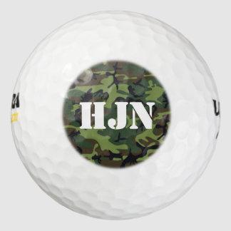 Custom monogram logo w/Army green camo Golf Balls