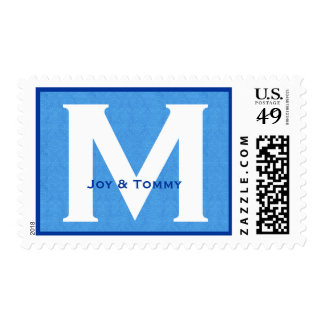 Custom Monogram M or Any Initial Blue V01 Postage