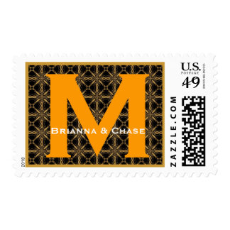 Custom Monogram M or Any Initial Gold and Black Postage