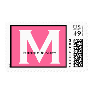 Custom Monogram M or Any Initial Pink 04 Postage