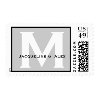 Custom Monogram M or Any Initial Silver and White Postage Stamp