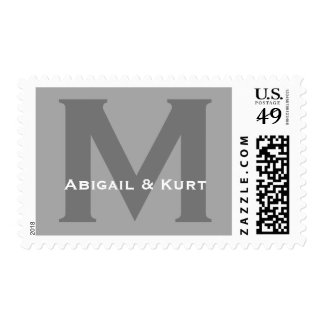 Custom Monogram M or Any Initial Silver Gray A02 Postage