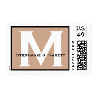 Custom Monogram M or Any Initial Warm Tan Postage