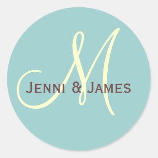 Custom Monogram M Wedding Favor & Envelope Sticker