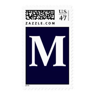 Custom Monogram M with navy blue background Postage