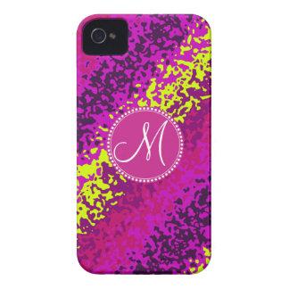 Custom Monogram Magenta Pink Paint Splatters iPhone 4 Case-Mate Case