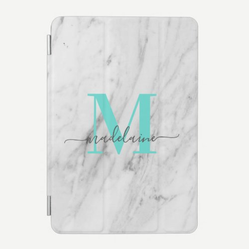 Custom Monogram Marble turquoise Pastel iPad Mini Cover