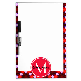 Custom Monogram Maroon Red and Blue Pattern Dry Erase Board