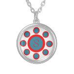 Custom Monogram Maruthani White, Blue and Red Round Pendant Necklace