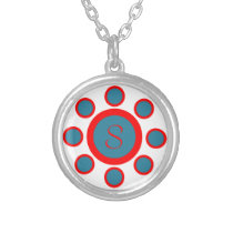 Custom Monogram Maruthani White, Blue and Red Silver Plated Necklace