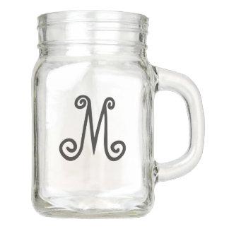 Custom Monogram Mason Jar Mug