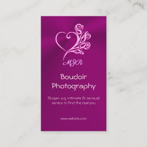 Custom monogram, Mauve Stylized Heart and Roses Business Card