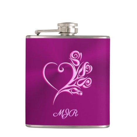 Custom monogram, Mauve Stylized Heart and Roses Flask