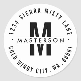 Custom Monogram Modern Circle Return Address Label
