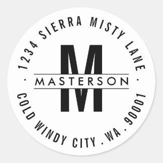 Custom Monogram Modern Circle Return Address Label Classic Round Sticker