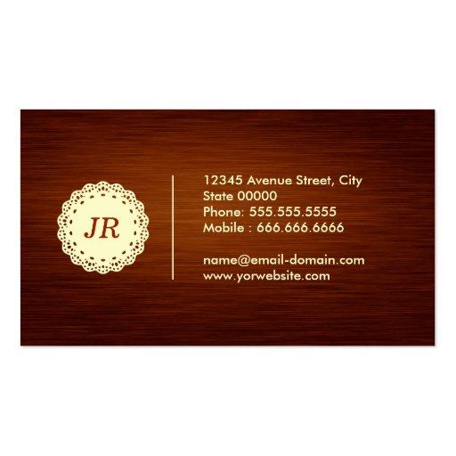 Custom Monogram - Modern Elegant Wood Grain Style Business Cards (back side)