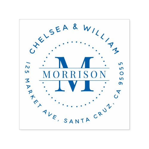 Custom Monogram Modern Family Name Return Address Self_inking Stamp