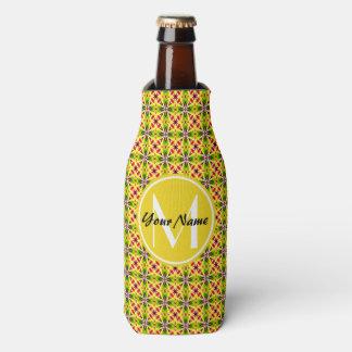 Custom Monogram Modern Red Yellow Green Pattern Bottle Cooler