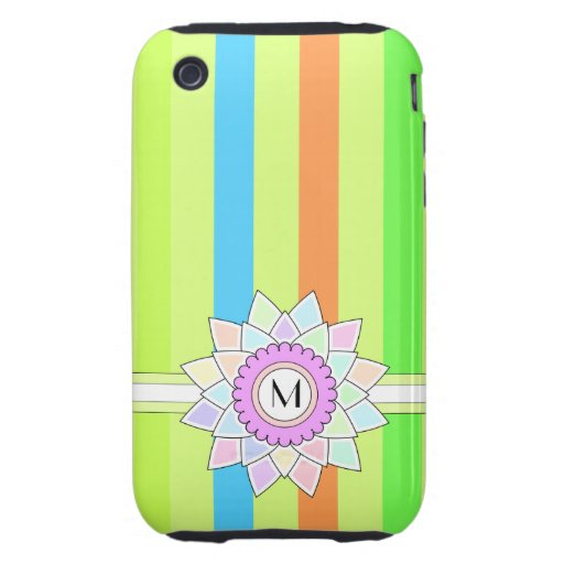 Custom Monogram, Multicolored Flower & Stripes 11 iPhone 3 Tough Covers