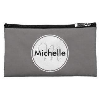 Custom Monogram Name Circle Grey Cosmetic Bag