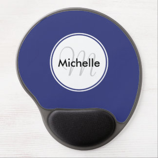 Custom Monogram Name Circle Solid Blue Gel Mouse Pad