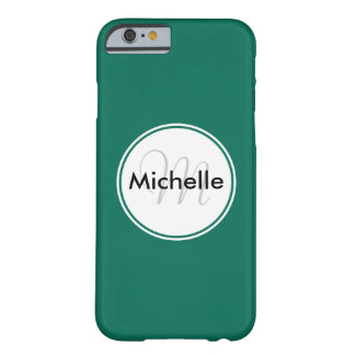 Custom Monogram Name Circle Solid Green Barely There iPhone 6 Case