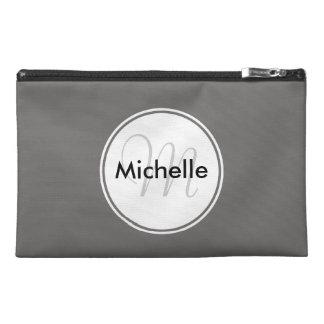 Custom Monogram Name Circle Solid Grey Travel Bag Travel Accessories Bag