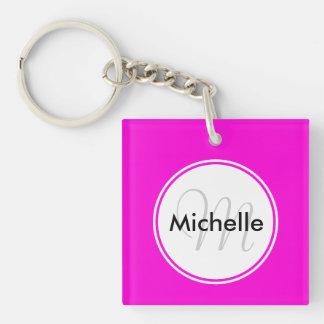 Custom Monogram Name Circle Solid Hot Pink Keychain