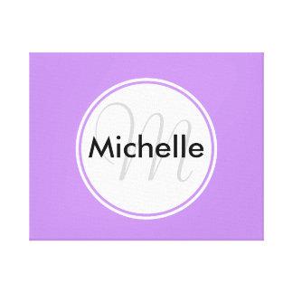 Custom Monogram Name Circle Solid Lavender Canvas Print