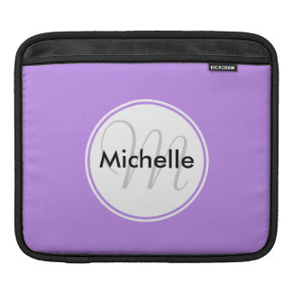 Custom Monogram Name Circle Solid Lavender Sleeve For iPads