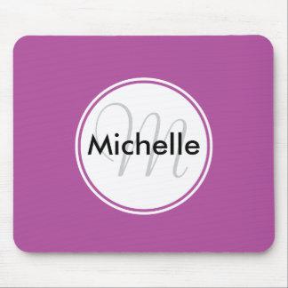 Custom Monogram Name Circle Solid Magenta Mousepads