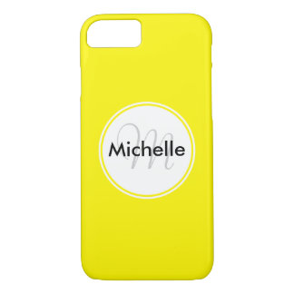 Custom Monogram Name Circle Solid Yellow iPhone 8/7 Case
